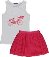 Losan Meisjes Set(2delig) Rode plooirok met Wit Shirt - Maat 128