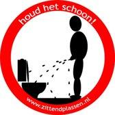 Verbod sticker zittend plassen voor op wc, toilet of badkamer (verboden staand te plassen) . 10 stuks
