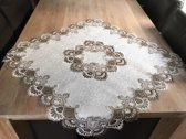 Tafelkleed Grof kant met bruin - Vierkant 110x110 cm