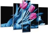 Glasschilderij Tulp   Paars, Blauw, Zwart   170x100cm 5Luik   Foto print op Glas    F003914