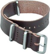 Horlogeband Nato Strap - Leer - 100% Echt Leder - 22mm