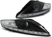 Koplampen met parkeerlicht FORD MONDEO 07 07-11 10 ZWART met LED knipperlicht