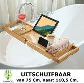 Verstelbaar bamboe badrekje voor over bad – 75 tot 110 cm lang – Badplank / badbrug geschikt voor telefoon, tablet, boek – Bad tafeltje van hout - Decopatent