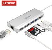 Lenovo Type-C hub met 4K HDMI, 2x USB-A 3.0, USB-C met Power Delivery, RJ45 en SD kaartlezer - Zilver