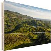 Een uitzicht over het nationaal park Snowdonia in Wales Vurenhout met planken 90x60 cm - Foto print op Hout (Wanddecoratie)