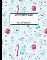 Composition Book Wide Ruled: Trendy Cute Kawaii Tooth Back to School Writing Notebook for Students and Teachers in 8.5 x 11 Inches