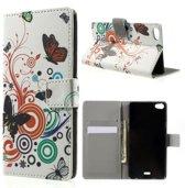 Butterfly wit print wallet case hoesje Huawei G Play Mini