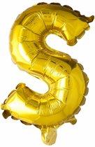 Folie Ballon Letter S Goud 41cm met rietje