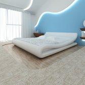 vidaXL Bed met matras 140x200 cm krul wit