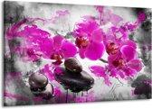Canvas schilderij Orchidee | Roze, Grijs, Wit | 140x90cm 1Luik