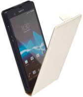 LELYCASE Premium Flip Case Lederen Cover Bescherm  Hoesje Sony Xperia Z Creme Wit