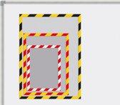 Magnetische insteekhoezen INDUSTIAL geel/zwart, A4 set à 5 stuks