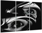 Canvas schilderij Ogen | Zwart, Wit | 120x80cm 3Luik