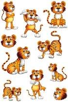 10x  Tijger dieren stickers met wiebeloogjes - kinderstickers - stickervellen - knutselspullen