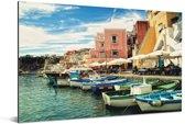 Vissersboten in de haven van het Italiaanse Napels Aluminium 180x120 cm - Foto print op Aluminium (metaal wanddecoratie) XXL / Groot formaat!