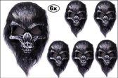 6x Masker doodshoofd aap harig