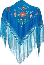 Spaanse manton - omslagdoek - voor kinderen - blauw met bloemen - bij Flamencojurk