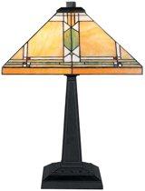 A TIFFANY STYLE Tafellamp Mondriaan geel