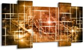 Canvas schilderij Abstract | Bruin, Wit | 120x65 5Luik