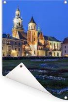 Koninklijke Kasteel van Wawel in Polen bij nacht tijdens kerstmis Tuinposter 80x120 cm - Tuindoek / Buitencanvas / Schilderijen voor buiten (tuin decoratie)