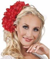 Haarbloem rode Dahlia met clip  - haarband