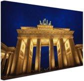 Nachtelijke Brandenburger Tor in Berlijn Canvas 30x20 cm - klein - Foto print op Canvas schilderij (Wanddecoratie woonkamer / slaapkamer) / Steden Canvas Schilderijen