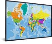 Wereldkaart kleuren (muur decoratie) in lijst zwart 60x40 cm