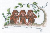 Thea Gouverneur Borduurpakket 1031 Horen zien zwijgen aapjes - Linnen stof