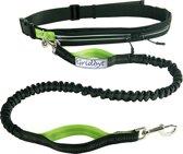 Gridbyt hondenriem – hondenlijn 120cm lang– gordel verstelbaar 70 tot 120cm zwart/groen