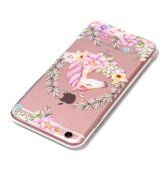 Let op type!! For iPhone 6 Plus & 6s Plus Flower Unicorn Pattern TPU Protective Case