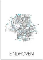 Plattegrond Eindhoven Stadskaart poster DesignClaud - Wit - A3 + fotolijst zwart