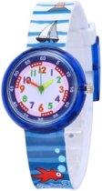 Zee / Strand - kinderhorloge/ peuter horloge - educatief horloge - jongens/ meisjes - blauw - 30 mm - I-deLuxe verpakking