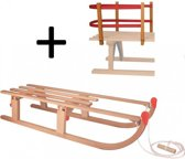 Slede hout opklapbaar 110 cm + rugleuning en touw - (houten slee)