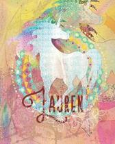 Lauren: Colorful Rainbow Unicorn - 100 Pages 8''X10'' Girl's Composition Wide Ruled Notebook