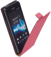 LELYCASE Premium Flip Case Lederen Cover Bescherm  Hoesje Sony Xperia J Pink