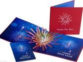 Popcards popupkaarten - Nieuwjaarskaart met siervuurwerk pop-up kaart