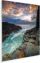 Fingal's Cave met een kleurrijke zonsopgang in Schotland Plexiglas 60x90 cm - Foto print op Glas (Plexiglas wanddecoratie)