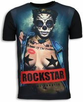 Local Fanatic Rockstar - Digital Rhinestone T-shirt - Zwart - Maten: L
