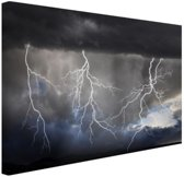 Bliksemshow Canvas 180x120 cm - Foto print op Canvas schilderij (Wanddecoratie)