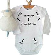 Baby Rompertje met tekst Hoofd Arm Been pijlen je kan het papa   Lange mouw   wit zwart   maat 62/68   grappig cadeau