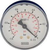-1..0 Bar Manometer Horizontaal Kunststof/Messing 63 mm Klasse 2.5 - MW-1063PH
