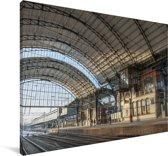 Het station van de Nederlandse stad Haarlem Canvas 140x90 cm - Foto print op Canvas schilderij (Wanddecoratie woonkamer / slaapkamer) / Europese steden Canvas Schilderijen