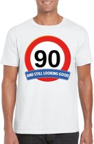 90 jaar and still looking good t-shirt wit - heren - verjaardag shirts M