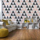 Fotobehang Modern Geometric Triangle Pattern Pink Black   VEXXXL - 416cm x 254cm   130gr/m2 Vlies