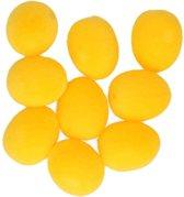 9x Pasen decoratie paaseieren geel 3,5 cm met stof - Paasdecoratie / Paasversiering