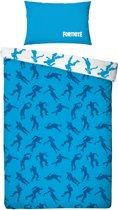 Fortnite Emotes Dekbedovertrek - Eenpersoons - 140 x 200 cm - Blauw/wit