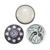 Quiges - Chunk 18mm Click Button Drukknoop Set van 3 Stuks Mix Wit Emaille met Zirkonia - EBCMSET005
