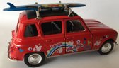 Renault 4 met surfplank Welly 43741 rood