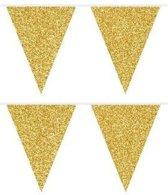 2x Gouden glitter vlaggenlijnen10 meter - Feest slingers/vlaggetjes