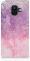 Samsung Galaxy A6 (2018) Standcase Hoesje Design Pink Purple Paint